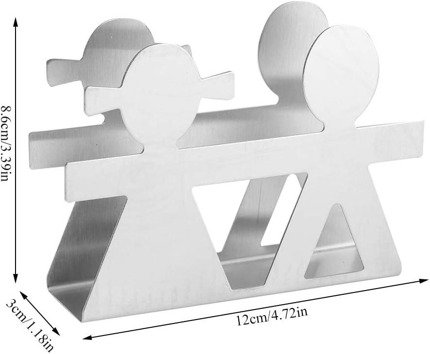dispensador de almacenamiento de servilletas de acero inoxidable Decoraci/ón de mesa para restaurante de cocina Servilletero para mesa 4.7 x 1.2 x 3.4in