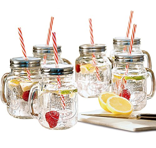 (Estilo Mason Jar Mugs with Handle and Straws Old Fashioned Drinking Glass Set 6, 16 oz)