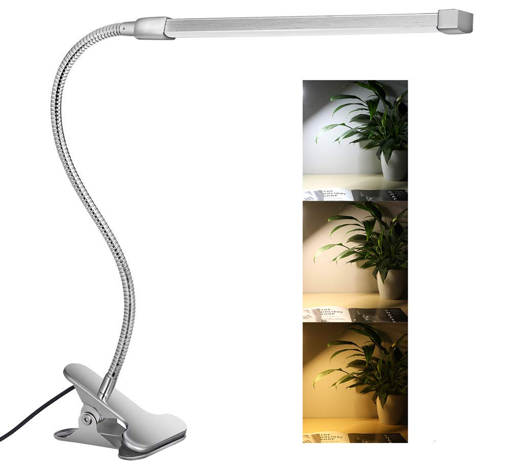 10W LED Clip on Light, Desk Lamps with 3 Modes & 2M USB Cable 10 Levels Dimmer Clamp Lamp (Silver)