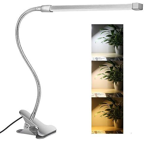 Svance Lámpara LED de Mesa, 8W Flexo Pinza con 3 Modos de Iluminación y 10 niveles de Brillo, Diseño cuello de cisne para Oficina Dormitorio Lectura ...