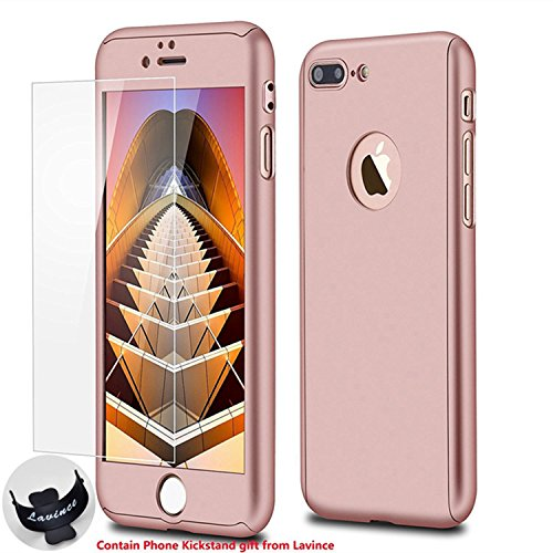 iPhone 7 Plus Case,Lavince Full Body Protection Hard Slim Cover[Dual Layer]with Tempered Glass Screen Protector for iPhone 7 Plus 5.5inch(Rose Gold)