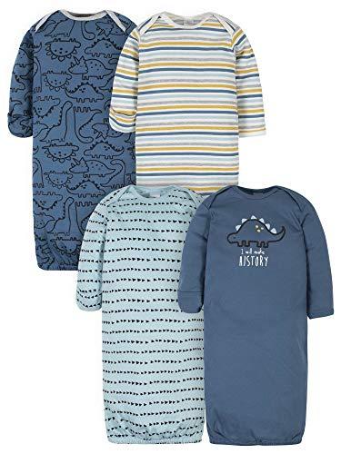 Gerber Baby 4-Pack Gown, Dinosaur Blue, 0-6 Months
