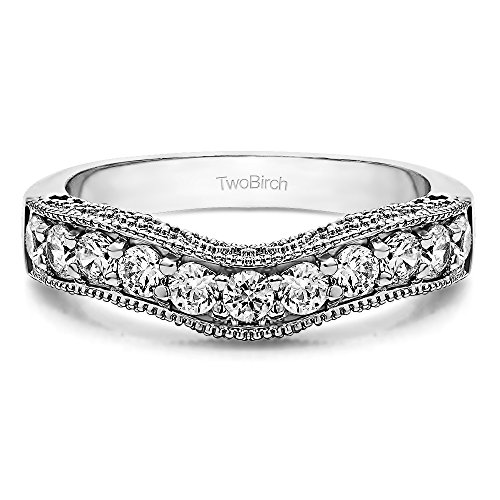 Charles Colvard Moissanite Vintage Wedding Band In Silver(0.27Ct) Size 3 To 15 in 1/4 Size Interval