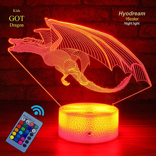 Dragon Lamp Dragon Night Light Kids Night Light,16 Colors with Remote 3D Optical Illusion Kids Lamp as a Pefect Gifts for Boys and Girls GOT on Birthday or Holiday (Drogon)