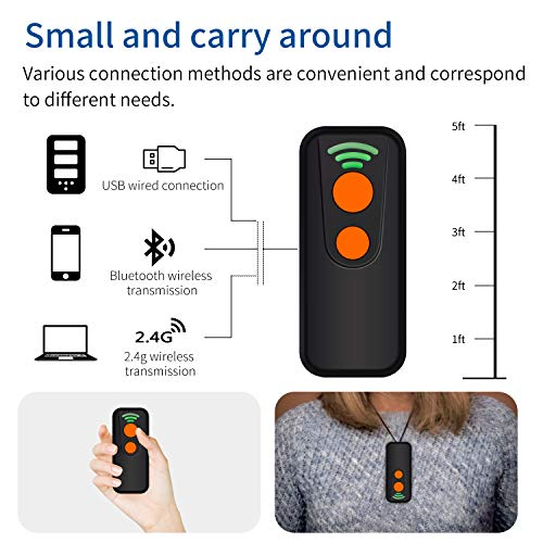 Alacrity Portable Bluetooth Laser Barcode Scanner,3-in-1 2.4G Wireless/USB Wired/Bluetooth 1D Bar Code Reader for iPad, iPhone, Android, Tablets or Computer