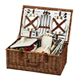 Picnic at Ascot Dorset English-Style Willow Picnic Basket with Service for 4 – Santa Cruz