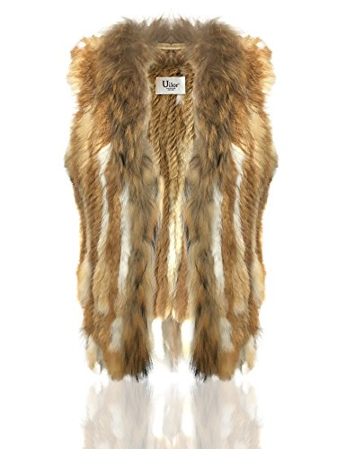 Uilor Femmes naturel fourrure fourrure de lapin Knit rat de Khaki 100 Natural Veste avec col rrRwgqd