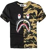 kids sharks tshirt - Juniors Casual Fashion Crewneck T Shirt Shark Camo Tees Tops for Teens (US Small=Tag Size M, Black)