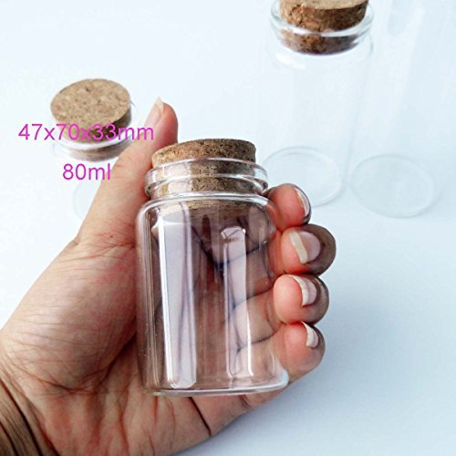 2pcs Empty Clear Glass Bottles Vials With Cork Stopper Storage Jars 47mm Bottle Diameter (47x70x33mm 80ml) (Bottle Small Glass)