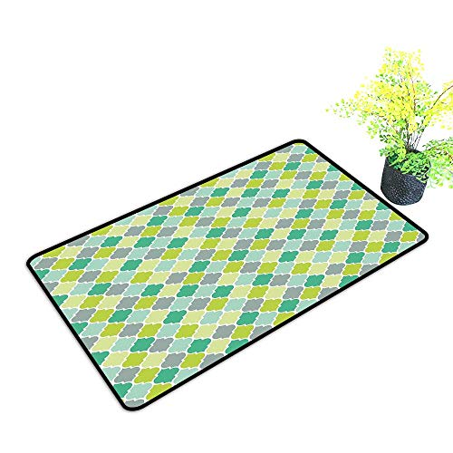 Sunburst Lattice Trellis - Diycon Door mat Customization Teal Traditional Moroccan Cultural Pattern Trellis Quatrefoil Motif in Vibrant Colors Retro W35 xL47 Easy to Clean Multicolor