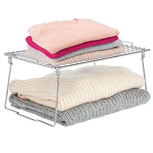 mDesign Farmhouse Metal Stackable Storage Shelf - Closet, Cabinet, Countertop 2-Tier Raised Organizer - for Bedrooms, Bathrooms, Entryways, Hallways - 10.5