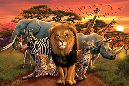 Pyramid America African Kingdom Lion Tiger Leopard Elephant Zebra Animals Poster 36x24 inch
