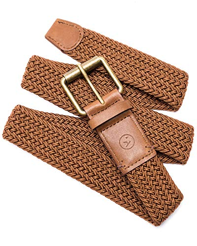 (Arcade Belt Mens Smartweave Hudson Belts: Braided Elastic Webbing For A Custom Fit, Brown/Caramel, L)