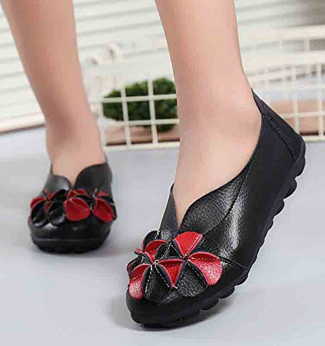 Aisun Women's Chic Flowers Slip On Low Cut Loafer Flats Black HpZ3hQ