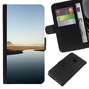 Río del desierto - Minimalista - la tarjeta de Crédito Slots PU Funda de cuero Monedero caso cubierta de piel Para HTC One M9