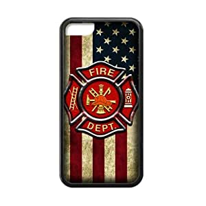 Generic Custom Unique Otterbox You Deserve--American Flag Firefighter Emblem in Flames Fire Rescue Symbol Plastic and TPU Black and White Case Cover for iPhone5C