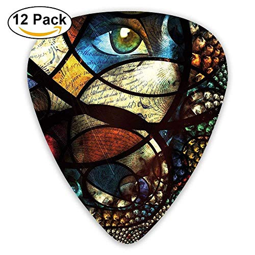 Pejer Premium Celluloid Guitar Picks, Psychedelic Oriental Ethnic Motif With Fractal Rounds Forms And Woman Eyes Guitar Picks 12/Pack
