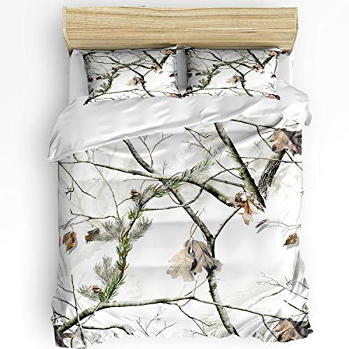 Meet 1998 3 Pieces Duvet Cover Sets White Realtree Camo Soft Bedding Sets with Zipper Autumn Season Include 1 Comforter Cover and 2 Pillow Shams,Queen Size