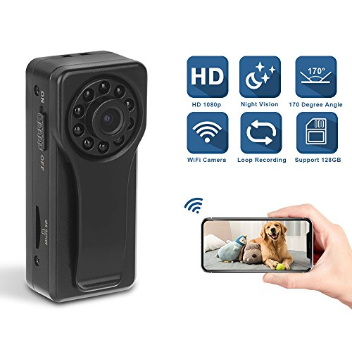 1080P HD Wireless WiFi Spy Camera- Mini Portable Hidden Body Camcorder with Night Vision/ Motion Detection/ Loop Recording, P2P Wireless Digita Video Nanny Cam of Home Office Security