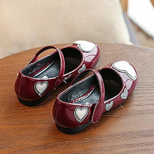 T-JULY Summer Girls Mary Jane Shoes Love Heart Ballet Flat with Strap (Toddler/Little Kid/Big Kid) Wine Red by T-JULY (Image #3)