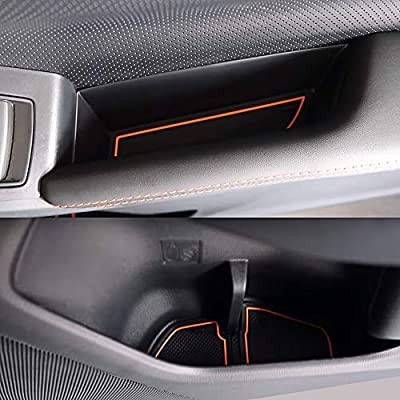 Auovo Anti-dust Door Mats for 2020 2020 2020 Subaru Crosstrek and Impreza Gate Door Liners Inserts Cup Console Mats Interior Accessories (Pack of 14) (Orange): Automotive