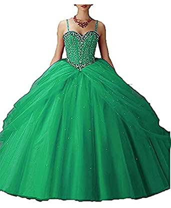 XSWPL Women's Straps Beading Ball Gown Prom Quinceanera Dresses Long Plus Size Green US14