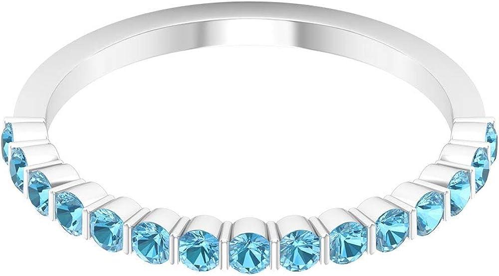 Anillo de media eternidad certificado de aguamarina de 0,60 ct, declaración de mujer, anillo de compromiso único de piedra preciosa, 18K Oro