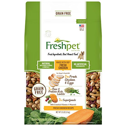 Freshpet Grain Free Made With 100% Fresh Chicken,Eggs,Peas & Protein Rich Lentils, Superfoods 3.5 LB Bag