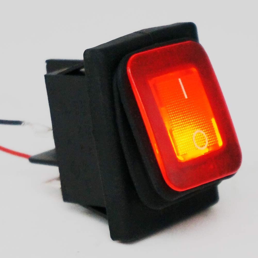 Taiss//2Pcs Waterproof 16A 250V 20A 125V 4 Pins 2 Position ON//Off DPST Red LED Light Illuminated Rocker Toggle Switch Boat Or Car KCD2-201N-2-W-R