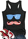 UNIQUEONE Women American Flag Printed Glasses Mustache Tank Tops Sleeveless Casual Vest T-Shirt Tops Size M (Dark Grey)