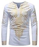 Hajotrawa Men's Ethnic Style Floral Printed Muslim Simple Dashiki Tee Top T-Shirts White s