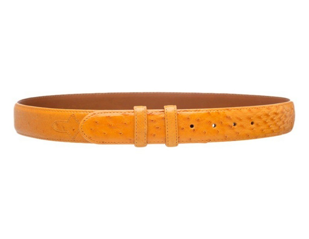 Ferrini Belts Mens Smooth Ostrich Fine Stitching Snap 42 Buttercup BA8