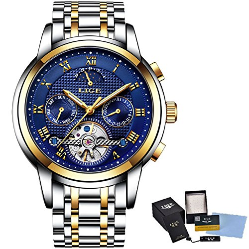 927a7f1e574 Image Unavailable. Image not available for. Color  2018 LIGE Brand Watch  Men Top Luxury Automatic Mechanical Watch Men Stainless Steel Clock Business  ...