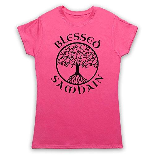 Blessed Samhain Gaelic Festival Camiseta para Mujer Rosa