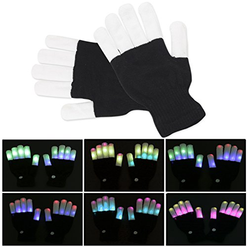 Kainuoa LED Gloves Flashing Finger Lighting Gloves with 7 Colors Light for Clubbing, Rave, Birthday, EDM, Disco, Festival and Party (Black Whole Fingers 6 Modes)