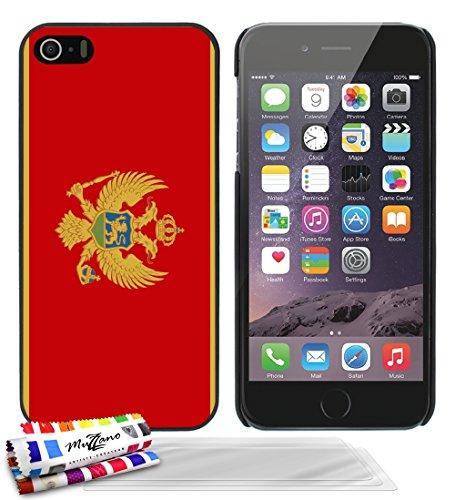 Ultraflache weiche Schutzhülle APPLE IPHONE 5 [Flagge Montenegro] [Schwarz] von MUZZANO + 3 Display-Schutzfolien UltraClear + STIFT und MICROFASERTUCH MUZZANO® GRATIS - Das ULTIMATIVE, ELEGANTE UND LA