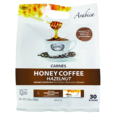 Carnes Premium Instant Coffee Mix with Honey Powder (Hazelnut, 30 Count)