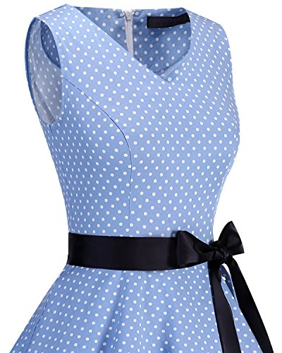 Vintage Dress Women's White Dot Bridesmay Small Audrey Hepburn Classy Rockabilly Swing 1950s V Neck Blue Ovd0vw