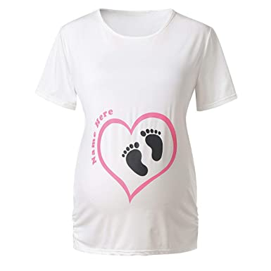 8458b3a8d3bcd Luonita Womens Maternity Top T-Shirt Cute Baby Feet Print Short Sleeve Plus  Size Pregnancy Cloth at Amazon Women's Clothing store: