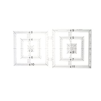 Healifty 5 in 1 Patchwork Ruler Template Quilting Ruler Acrylic Transparent DIY Sewing Tool Accessory Large Size