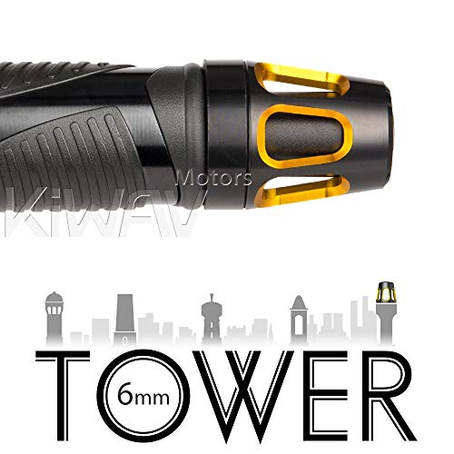 Magazi Bar Ends Tower Gold with Black Base Universal Fit w/ 6mm Threaded or Hollow Bar