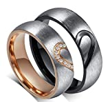 (US) His or Hers (Priced Separate) Korean Style Titanium Stainless Steel Couple Heart in Love Wedding Bands Set Ring with Cubic Zirconia Stone-JCR051 (men's size 9)