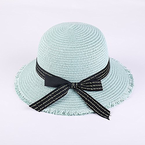 Heart .Attack Bow Straw Hat Outdoor Leisure Shade Beach Hat Tide,D-57 English Bow Light Blue,Adult Code