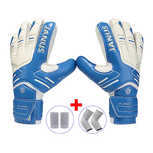 Youth&Adult Goalie Goalkeeper Gloves,Strong Grip for The Toughest Saves, With Finger Spines to Give Splendid Protection to Prevent Injuries,Free 1 Pair of Wristband&Elbow Pads,3 Colors (Blue, 10)
