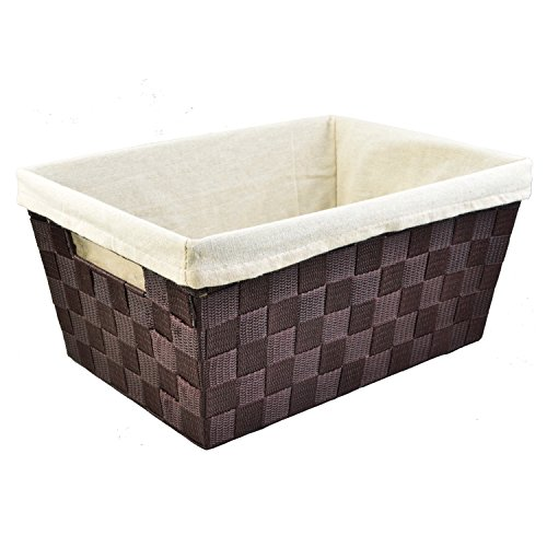 Metal Rattan Baskets - Wovenaholic Office and Kitchen Woven Basket Shelf Storage Tote,13.8x10x6.5