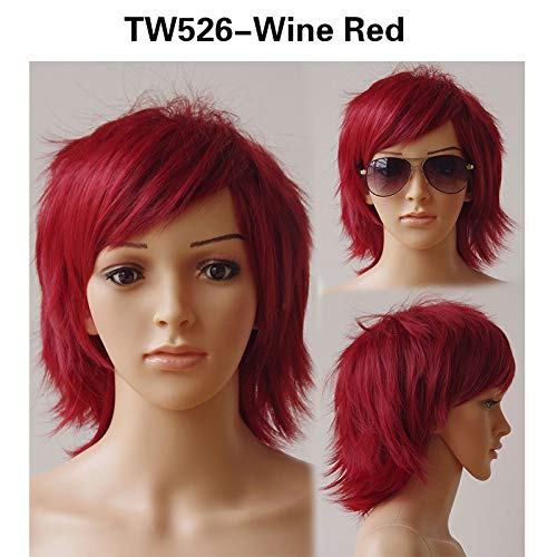 Synthetic Cosplay Short Wig Purple Halloween Costume Party Dress Wigs For Women Men Heat Resistant Fiber Pure Color #99J 12inches -