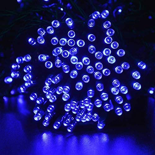 100 Blue Solar Powered Led Outdoor String Fairy Lights in US - 8