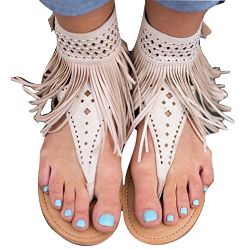 Hibote Damen Flat Zip Riemchen Sommer t-Bar Quaste Flache Gladiator Boho Sandalen Schuhe Thong T-Gurt Flip Flops Beige