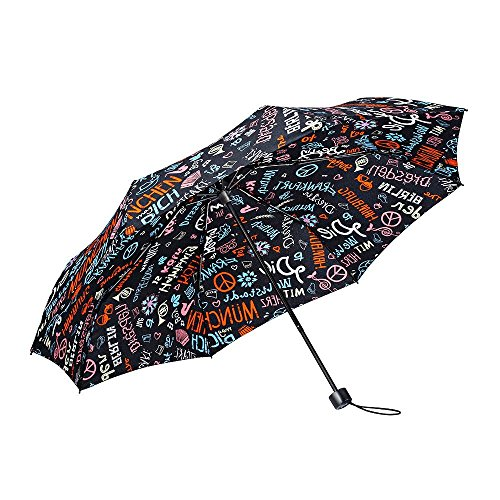 Boys Graffiti - BOY Windproof Travel Umbrella,Tri-fold Collapsible Compact Lightweight Umbrella,Designed in German (Black Graffiti)