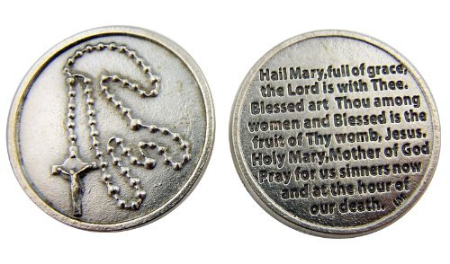 Image of Rosary with Hail Mary Blessed Holy Mother of God Prayer
